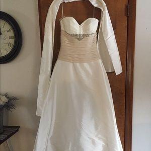White and blush Casablanca Wedding dress